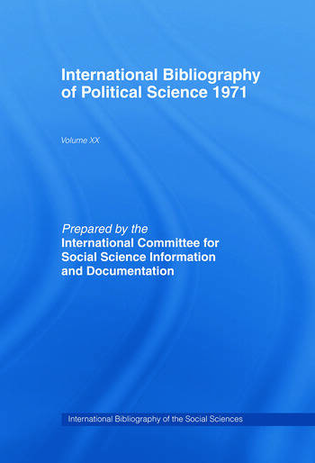 IBSS: Political Science: 1971 Volume 20 book cover
