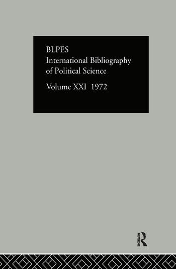 IBSS: Political Science: 1972 Volume 21 book cover