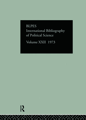 IBSS: Political Science: 1973 Volume 22 book cover