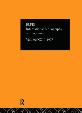 IBSS: Economics: 1973 Volume 22 book cover