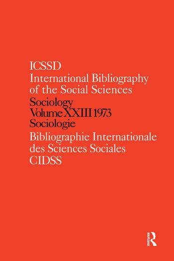 IBSS: Sociology: 1973 Vol 23 book cover