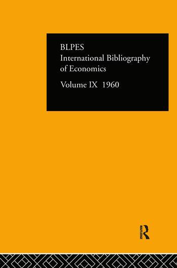 IBSS: Economics: 1960 Volume 9 book cover
