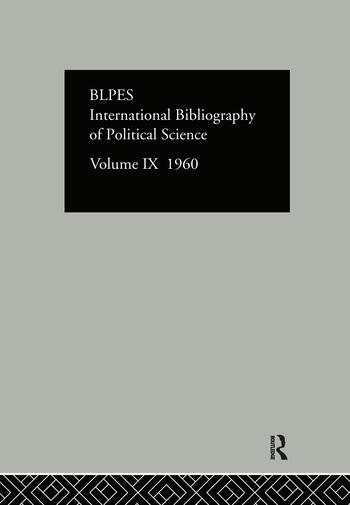 IBSS: Political Science: 1960 Volume 9 book cover