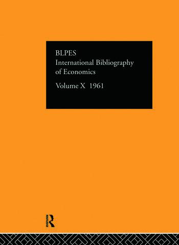IBSS: Economics: 1961 Volume 10 book cover