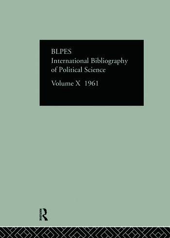 IBSS: Political Science: 1961 Volume 10 book cover