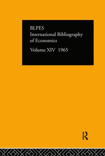 Intl Biblio Econom 1965 Vol 14 book cover
