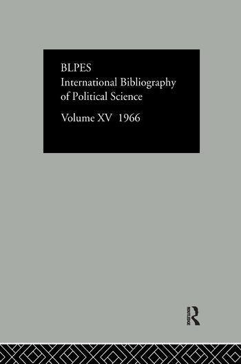 Intl Biblio Pol Sc 1966 Vol 15 book cover