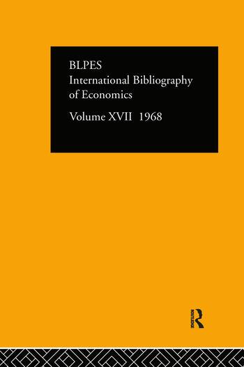 IBSS: Economics: 1968 Volume 17 book cover