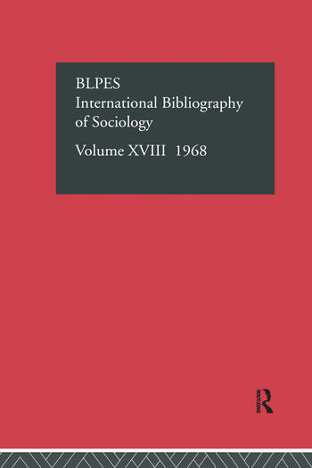IBSS: Sociology: 1968 Vol 18 book cover