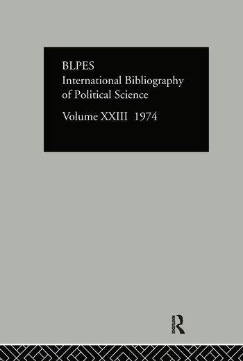IBSS: Political Science: 1974 Volume 23 book cover