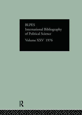 IBSS: Political Science: 1976 Volume 25 book cover