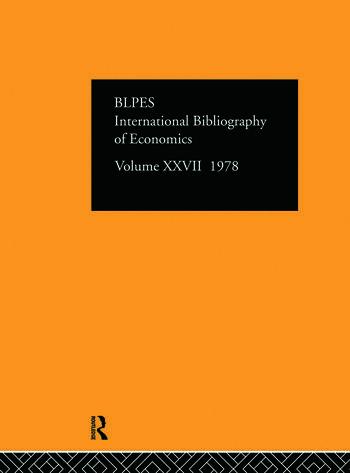 IBSS: Economics: 1978 Volume 27 book cover
