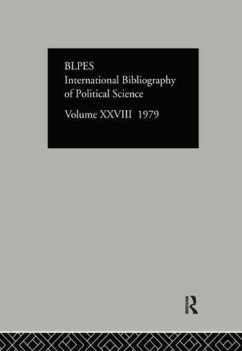 IBSS: Political Science: 1979 Volume 28 book cover