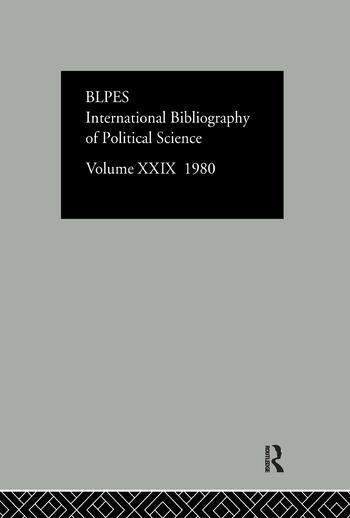 Ibss Poli Sci 29 1980 book cover