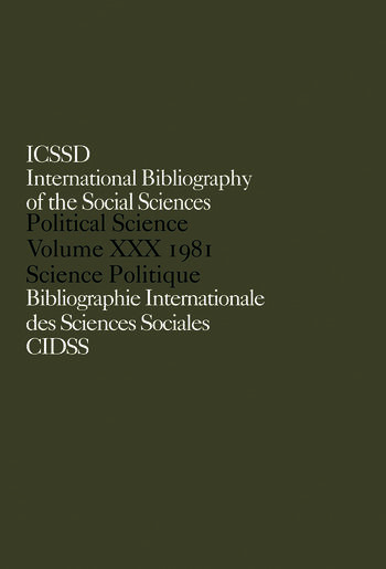 IBSS: Political Science: 1981 Volume 30 book cover