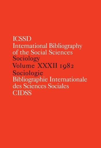 IBSS: Sociology: 1982 Vol 32 book cover