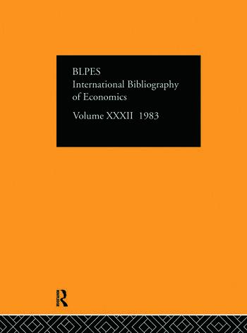 IBSS: Economics: 1983 Volume 32 book cover