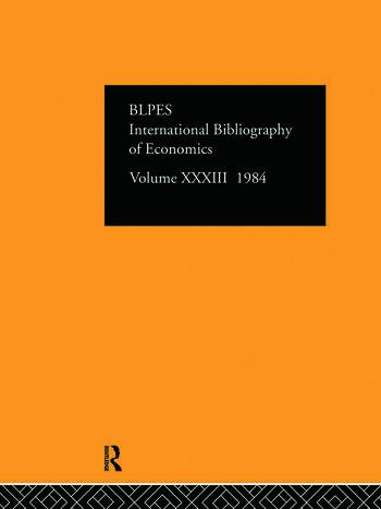 IBSS: Economics: 1984 Volume 33 book cover