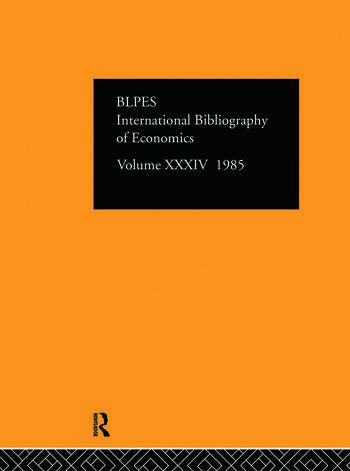 IBSS: Economics: 1985 Volume 34 book cover