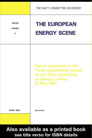 The European Energy Scene Watt Committee Report 11 book cover