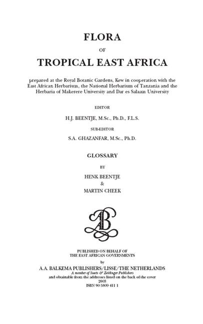 Flora of Tropical East Africa - Glossary (2003) book cover