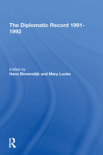 The Diplomatic Record 1991-1992 book cover