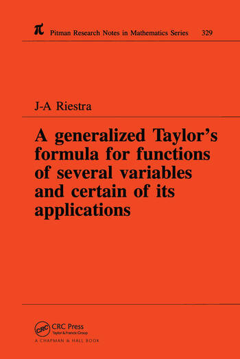 A Generalized Taylor's Formula for Functions of Several Variables and Certain of its Applications book cover