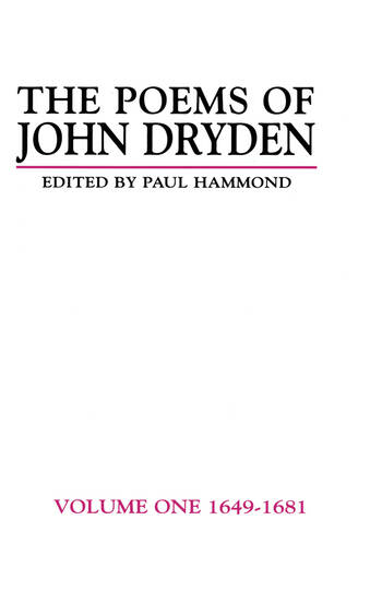 The Poems of John Dryden: Volume One 1649-1681 book cover