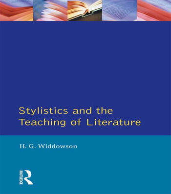 Stylistics and the Teaching of Literature book cover