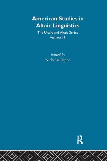 American Studies in Altaic Linguistics book cover