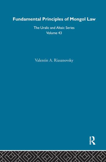 Fundamental Principles of Mongol Law book cover