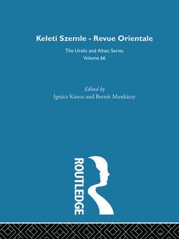 Keleti Szemle-Revue Orientale book cover