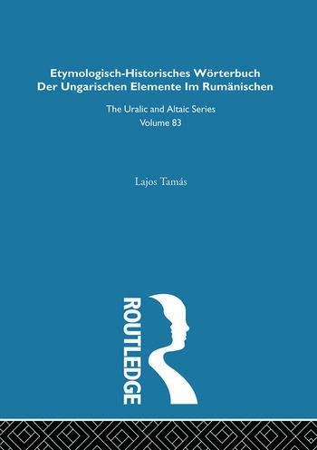 Etymologisch-Historisches Worterbuch der Ungarischen Elemente in Rumanischen book cover