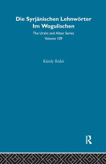 Zyrian Loanwords in Vogul book cover