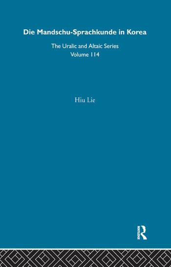 Die Mandschu-Sprachkunde in Korea book cover
