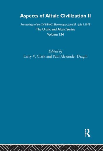 Aspects of Altaic Civilization II book cover
