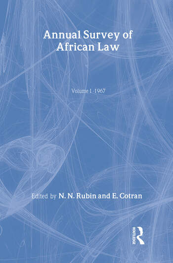 Annual Survey of African Law Cb Volume One : 1967 book cover