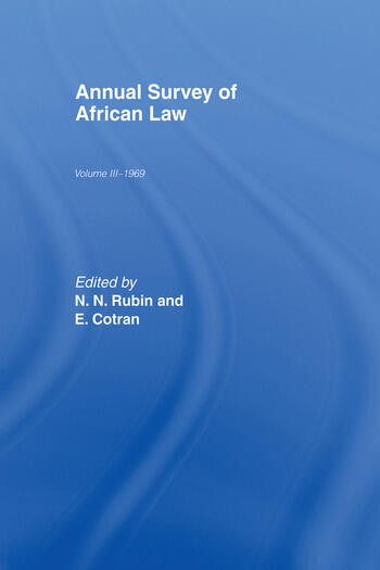 Annual Survey of African Law Cb Volume Three : 1969 book cover