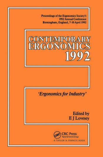 Contemporary Ergonomics Ergonomics For Industry book cover