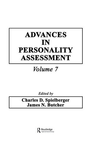 Advances in Personality Assessment Volume 7 book cover