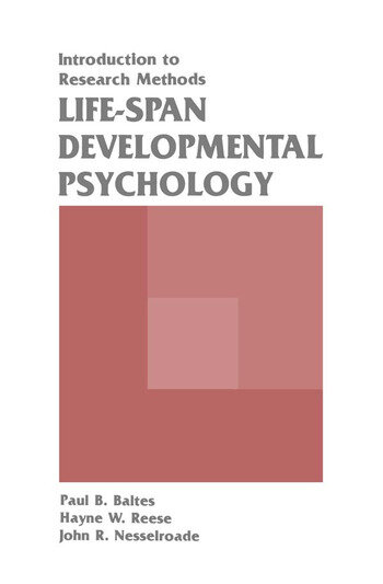 Life-span Developmental Psychology Introduction To Research Methods book cover