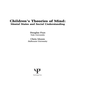 Children's Theories of Mind Mental States and Social Understanding book cover