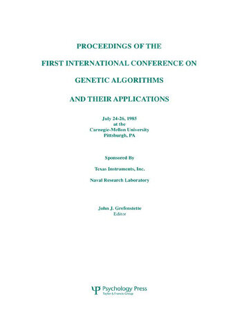 Proceedings of the First International Conference on Genetic Algorithms and their Applications book cover