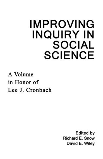 Improving Inquiry in Social Science A Volume in Honor of Lee J. Cronbach book cover