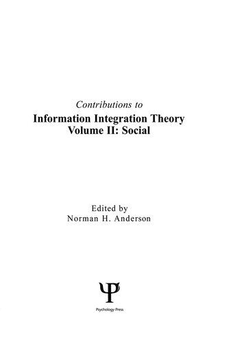 Contributions To Information Integration Theory Volume 2: Social book cover