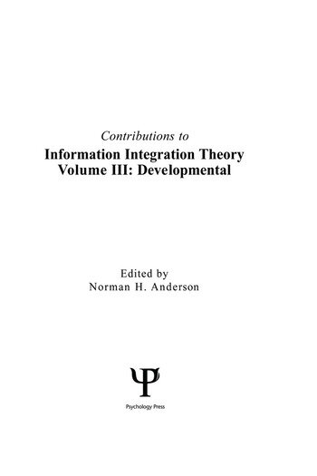 Contributions To Information Integration Theory Volume 3: Developmental book cover