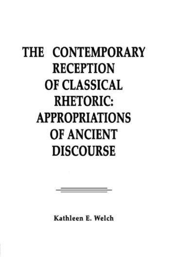 The Contemporary Reception of Classical Rhetoric Appropriations of Ancient Discourse book cover
