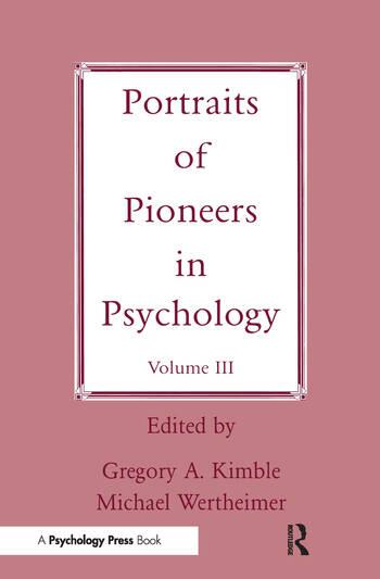 Portraits of Pioneers in Psychology Volume III book cover
