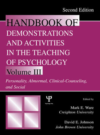 Handbook of Demonstrations and Activities in the Teaching of Psychology Volume III: Personality, Abnormal, Clinical-Counseling, and Social book cover