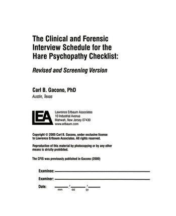 A Clinical and Forensic Interview Schedule for the Hare Psychopathy Checklist Revised and Screening Version book cover